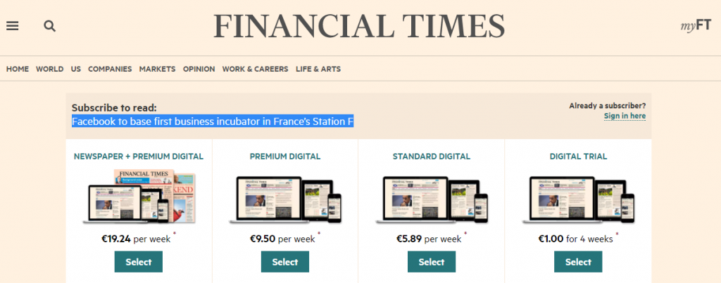 financialtime paid articles